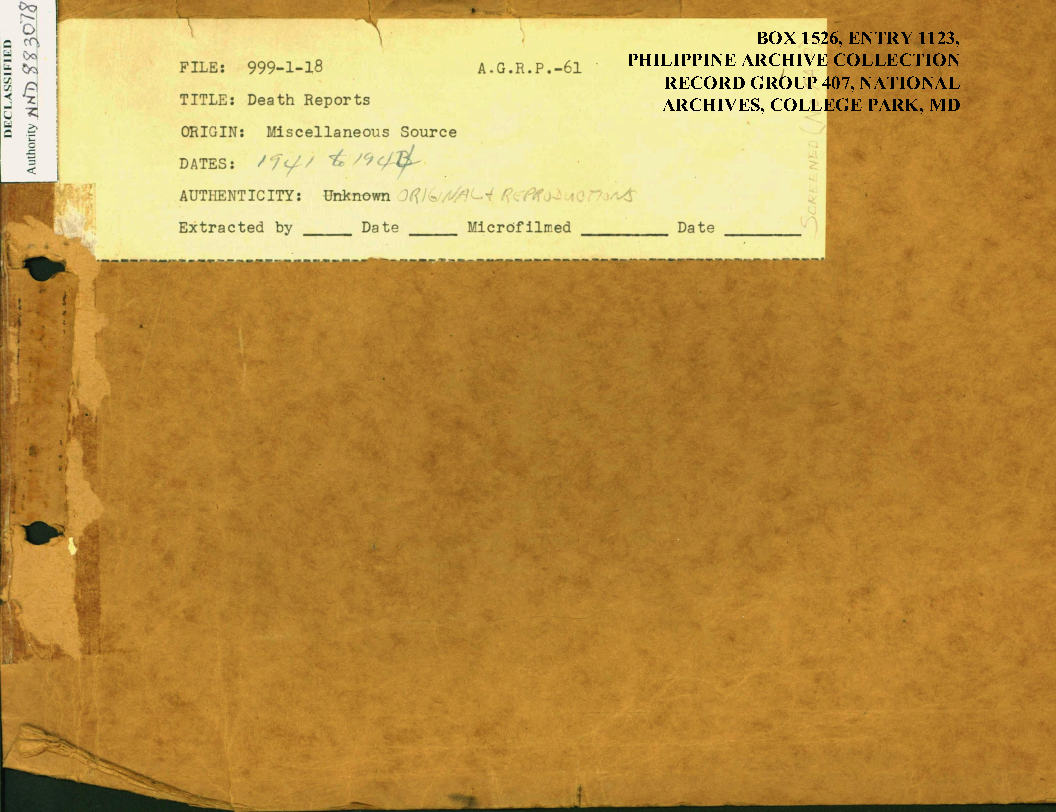 Death Reports Miscellaneous 1941-44