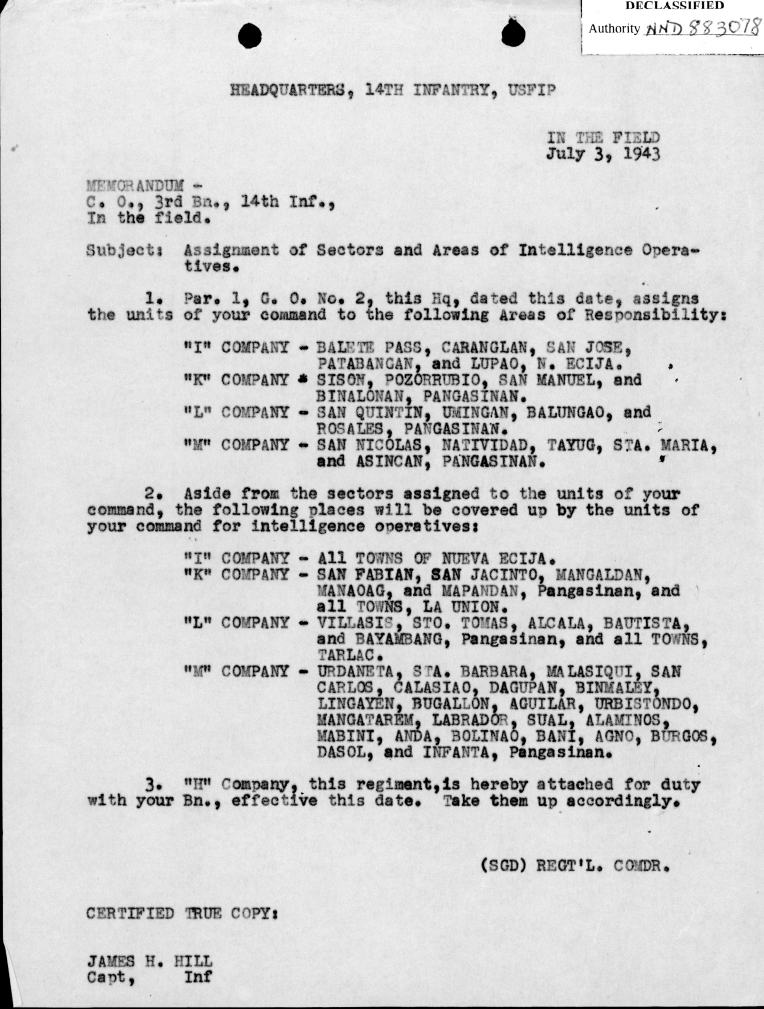 Assignment of Sections 14th Inf 3 July 1943
